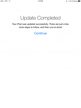iPad iOS 8 Update Complete